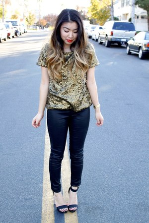 gold sequin H&M top - black tregging H&M pants - black Glaze heels