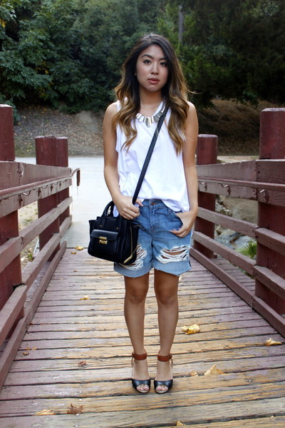 black Phillip Lim for Target bag - sky blue boyfriend J Brand shorts