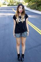 black Forever 21 t-shirt - black Target boots - gray brandy melville shorts