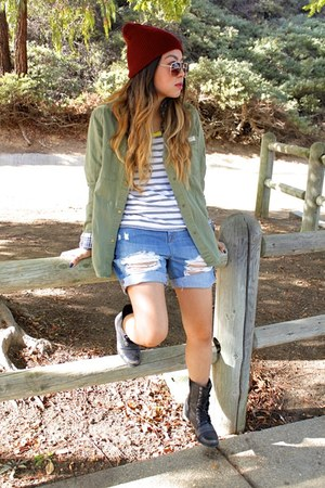 army green H&M jacket - black Steve Madden boots - crimson neff hat