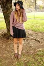 black Nordstrom BP hat - puce cotton on sweater - black cotton on skirt