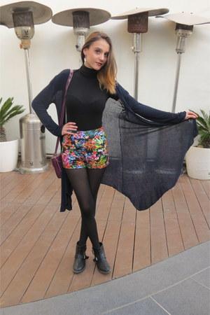 black pull&bear boots - black Mango sweater - maroon Topshop bag