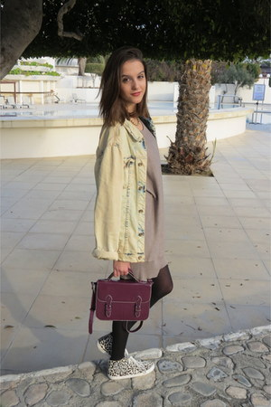 light blue Zara jacket - light brown asos dress - maroon Topshop bag