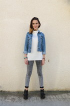 off white Zara top - black Pull & Bear boots - charcoal gray Pull & Bear jeans