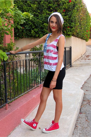black Dressgal skirt - white Pimkie hat - red Converse sneakers
