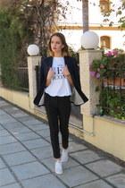 white Zara t-shirt - navy navy blazer Zara blazer - black Zara pants