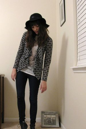 gray Forever 21 blouse - white shirt - blue Silence & Noise jeans - gray Forever