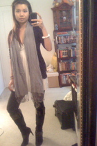H&M scarf - Pac Sun jacket - banana republic dress - H&M jeans - Nine West boots