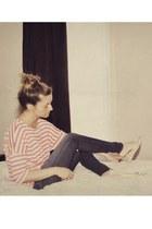 beige flats Ardene shoes - blue skinny Joes Jeans jeans - salmon stripe antistar