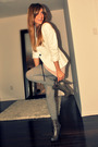White-zara-blazer-pink-ardene-gray-h-m-tights-gray-sirens-boots-black-al