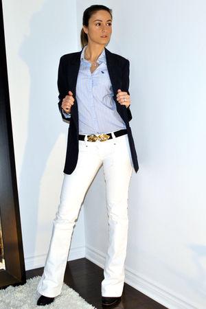 white boot cut parasuco jeans - black Aldo boots - blue Forever 21 blazer