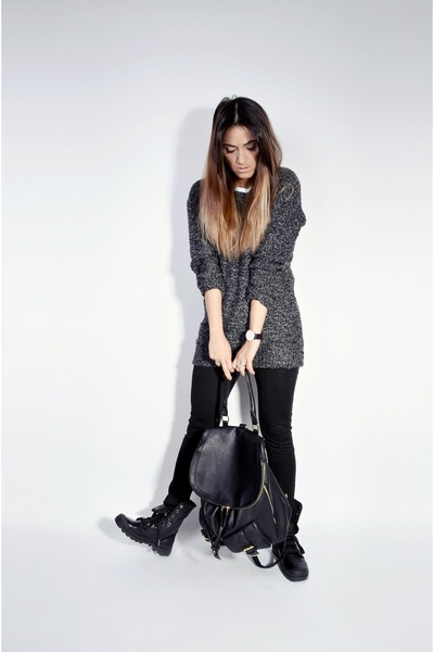 black leather Palladium boots - dark gray knit oversize Ardene sweater