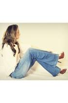 blue wide leg Buffalo David Bitton jeans - white Costa Blanca shirt - tawny Buff