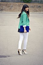 white skinny Sirens jeans - teal Urban Planet blazer - white Aldo heels