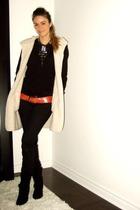 black H&M top - black Ardene jeans - black X2B boots - beige Ebay cardigan - red