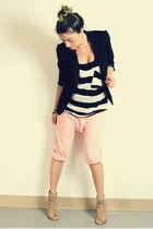 black Sirens blazer - black Sirens top - pink Zara pants - beige Aldo boots