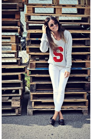 heather gray knit varsity garage sweater