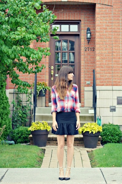black chicnova skirt - ruby red plaid Forever 21 shirt