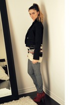 black Seduction blazer - beige Topshop sweater - gray some place on Melrose in L