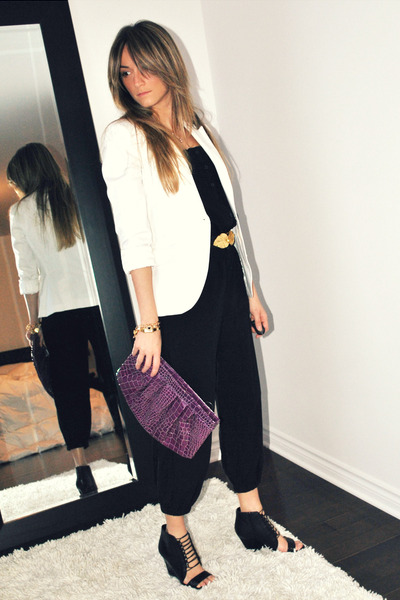 white Zara blazer - black H&M - black Aldo shoes - gold H&M belt - purple Ardene