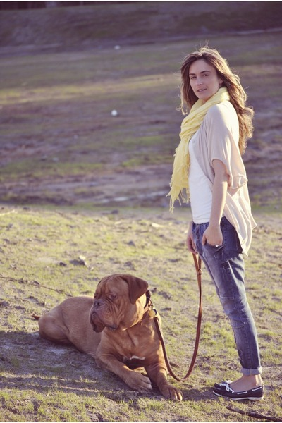 blue drop crotch Zara jeans - light yellow Ardene scarf - white tank Ardene top
