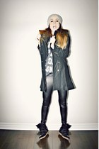 black military Sheinside coat - black wedge Isabel Marant sneakers