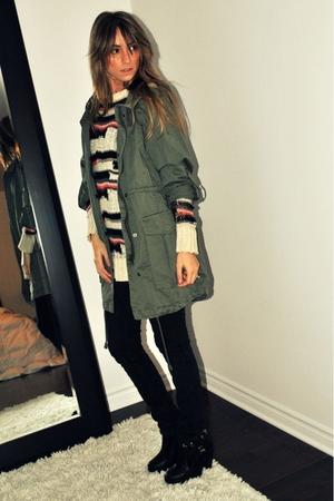 green H&M jacket - Topshop sweater - black Ardene jeans - black Ebay boots