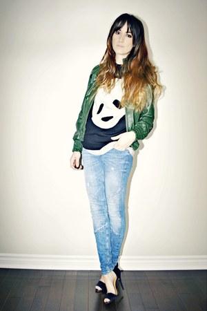 black panda face Sheinside sweater - blue skinny Zara jeans