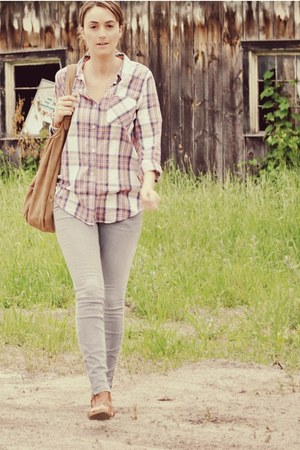 heather gray Forever 21 jeans - salmon plaid Forever 21 shirt