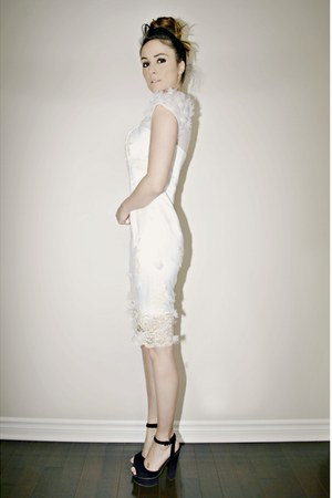 ivory lace embroidery edressycom dress - black gojanecom heels
