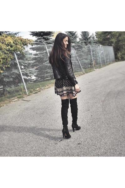 black Aldo boots - black printed mini Ardene dress