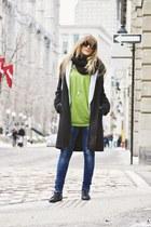black ankle Aldo boots - black hooded le chateau coat - blue ankle zip Zara jean