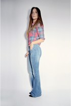 red plaid Ardene shirt - blue bell bottom H&M jeans
