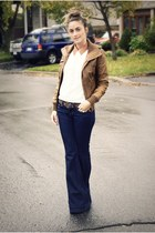 navy flare J Brand jeans - brown leather bomber Newlook jacket