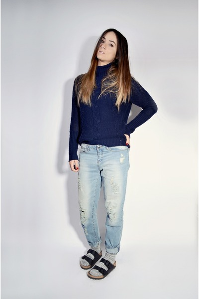 light blue Ardene jeans - black Birkenstock sandals