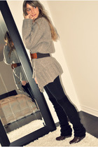 gray Simons cardigan - black H&M leggings - black H&M - brown Aldo boots - brown
