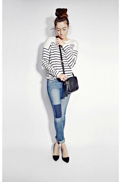white breton stripe H&M sweater - blue H&M jeans - black soho disco Gucci bag