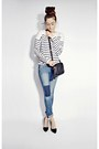Blue-h-m-jeans-white-breton-stripe-h-m-sweater-black-soho-disco-gucci-bag