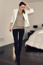 white Zara blazer - black wedge platform Ebay boots - black Ardene jeans