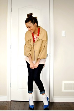 blue Forever 21 jeans - camel Buffalo David Bitton jacket - light pink Simons bl
