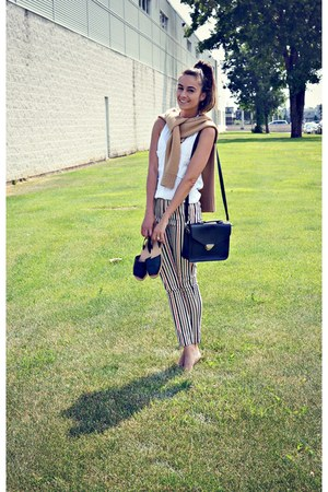 black cross body Ardene bag - white stripe PERSUNMALL pants