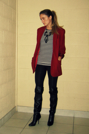 vintage from Ebay blazer - Suzy Shier top - Zara leggings - Aldo boots - Aldo ne