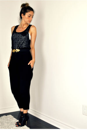 black urban behavior top - white Ardene top - black Zara pants - black H&amp;M belt 