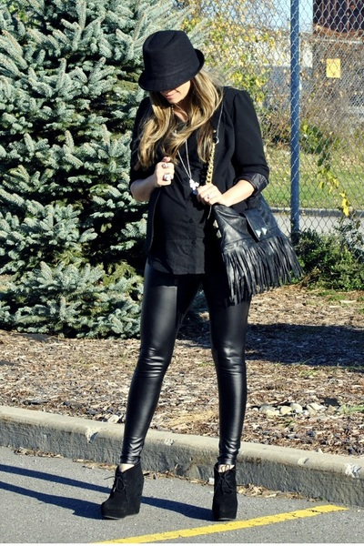black Sirens blazer - black H&M shirt - black H&M leggings - black Aldo shoes -