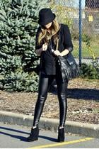 black Sirens blazer - black H&M shirt - black H&M leggings - black Aldo shoes -