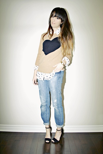 white polka dot Ardene blouse
