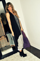 black Sirens vest - gray Ardene top - gray Ardene pants - black X2B boots - purp