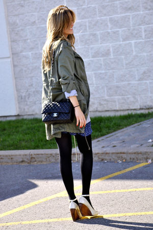 green H&M jacket - gray Forever 21 top - blue Zara skirt - black Chanel bag - be