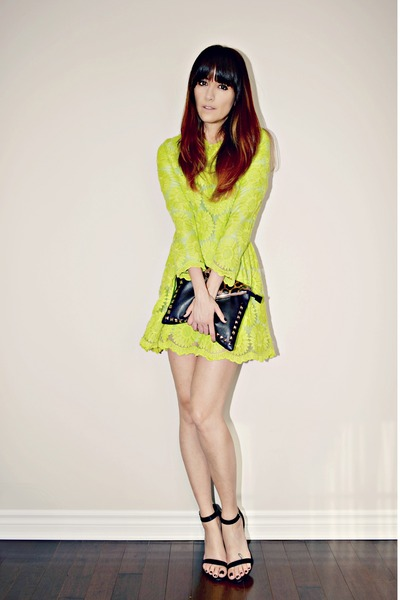lime green neon mini Sheinside dress