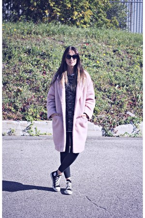 light pink Primark coat - gray knit Ardene sweater